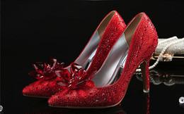 Petites fleurs en strass en Ligne-Haut Grade Cendrillon Cristal Chaussures Nuptiale Strass Chaussures De Mariage Robe Chaussures Avec Fleur Véritable En Cuir Grand Petite Taille 33 34 à 42