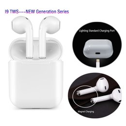 Wholesale I9 TWS Bluetooth Auriculares Magnetic Charger Box Auriculares Mini Inalámbricos Auriculares estéreo V4 Auriculares estéreo Para iPhone Android coche