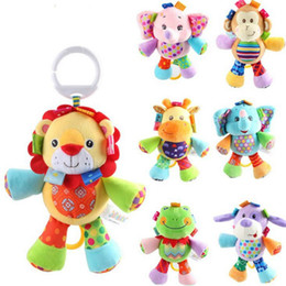 Wholesale Monkey Bedding - Wholesale- 1pc Infanty Soft Elephant Monkey Raise The Bell Rattles Toys Baby Cute Development Hand Bell Hanging Bed Safety Seat Plush Doll
