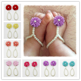 Wholesale pearl toe ring - Flower Sandals Simulated Pearl Anklets Newborn Baby Girls Foot Band Toe Rings First Walker Barefoot Sandals Anklets Kids TO420