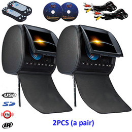 Wholesale Radio Seat - 2x 9inch Car DVD Player Headrest Pillow with USB SD FM IR Game Remote Control Rear-Seat Entertainment