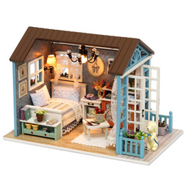 Wholesale Toy Forest - Dollhouse with Dust-proof Cover Forest Times Happy Times Holiday Times Mini DIY Wooden House Kit with LED Light Handmade Doll House Toys