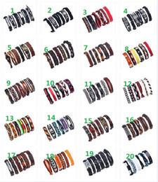 paar armband set leder Rabatt Rindsleder Charismatik Armband Set 6 teile / satz 20 Stil Lederarmband Multi Layer Mann frau Paar Punk Armband