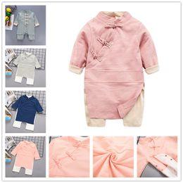2019 chineses onesies 2018 novo estilo Chinês Do Bebê de manga comprida onesie bebês meninas meninas Han roupas de moda Romper estilo Romper roupas traje da foto chineses onesies barato