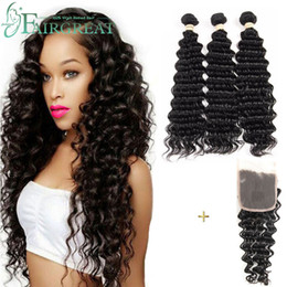 Wholesale peruvian deep wave lace closure - Deep Wave Brazilian Human Hair Weaves 100% Unprocessed Human Hair Extensions 3 Bundles with Lace Closure Hair Weave Bundles Wholesale price