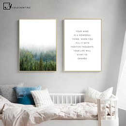 Wholesale Motivational Wall - NICOLESHENTING Motivational Quote Minimalism Art Canvas Poster Foggy Forest Landscape Wall Picture Print Modern Home Decoration