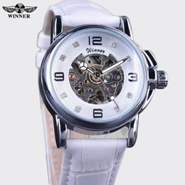 Wholesale ladies model watches - Winner Ladies Watches Brand Luxury Designer Diamond Dress Leather Watches New Models Big Numbers Mechanical Watch For Women Gift Wholesale