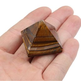 Wholesale pyramid bags - 1PC New Arrival Tiger Eye Quartz Crystal Pyramid Stone Healing Feng Shui Gemstone for Home Decor Craft Gift