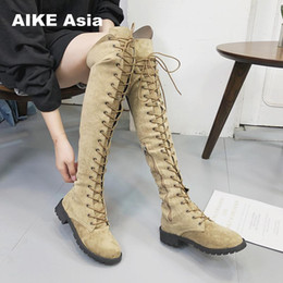 botas planas mujer por encima de la rodilla Rebajas Sexy Lace Up Over Knee Boots Mujeres Botas Pisos Zapatos Mujer Cuadrada Heel Rubber Flock Botas Winter Thigh High 34-43