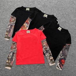 2019 langarm-tattoo-print-tops Neue Baby INS Drucken T-Shirts Baumwolle Kinder Hip Hop Tattoo Lange Ärmel Tops Tees Kinder Shirts 16 Farben günstig langarm-tattoo-print-tops
