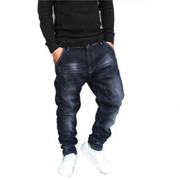 2019 calientes grandes caderas negras Hip Hop Pantalones vaqueros de jogging para hombre Pantalones de chándal Pantalones Vaqueros Elásticos de algodón Pantalones de mezclilla holgados sueltos Diseñador Hombres Ropa Tallas grandes 28-42