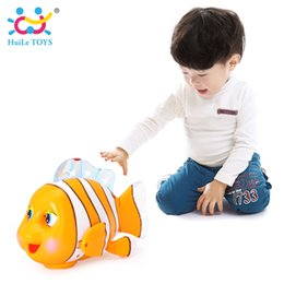 Wholesale Clown Music - HUILE TOYS 998 Baby Toys Infrared Sensor Clever Clown Fish with Music & Lights Electric for Children 18 months+