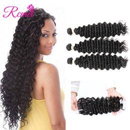 indain human hair Promo Codes - Rcmei Deep Wave Bundles With Closure Indain Human Hair Weave 3 Bundles With Closure Three Minddle Free Part Remy Hair Extension 4pcs lot