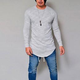 Chemises de muscle occasionnels en Ligne-Nouveau style de mode, plus la taille des hommes Slim col rond manches longues coton Muscle Tee T-shirts Casual couleur unie Tops chaud