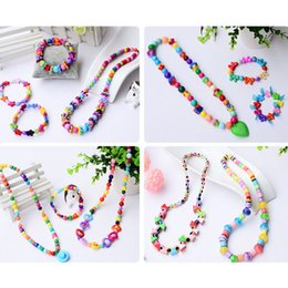 Wholesale Plastic Beads For Crafts - 2018 Fashion Beads Fruit Pendant Jewelry Set Necklace Bracelet Handmade For Baby Kids Girls DIY Craft 10 Style
