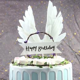 Pasteles de boda de plumas online-White Angel Feather Wing Cake Topper Girls Birthday Party Wedding Party Cake Decor Supplies Negro Rosa Rojo Azul 10 unids / lote