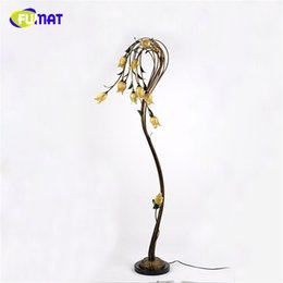 Wholesale Black Metal Lamp Shade - FUMAT Flower Floor Lamps Metal Glass Art Deco Light Living Room Nordic Pastoral Light For Bed Room Yellow Glass Shade LED Lights
