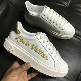 Wholesale Medium Time - Luxury Brand Women Leather Embroidered Letter Time Upbeat Sneaker Designer Rubber Outsole Girl Casual Shoes Size35-40