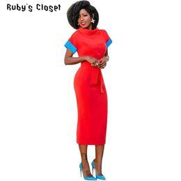2019 cinturones midi Ruby's Closet mujeres Summer midi vestidos de manga corta soporte cuello cinturón arco oficina dama vestido de un solo paso vestidos bodycon SN-S3277 cinturones midi baratos