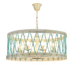 Wholesale Pendent Stones - Creative Blue Stone Chain Lampshade Chandelier European Fashion Iron Living Room Dining Room Decoration Lamp E14 Pendent Lights