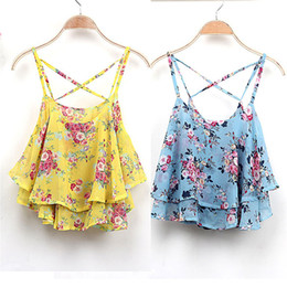 Wholesale Yellow Spaghetti Strap Tank Top - New Fashion Summer Vest Casual Chiffon Sexy Tank Tops Women Summer Floral Print Spaghetti Strap Double Chiffon Tops Shirt blusas