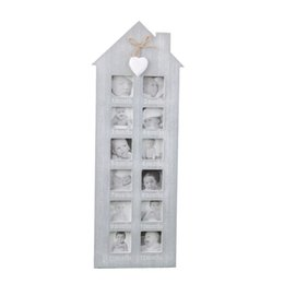 diy baby decor Promo Codes - Wooden Picture Frame Retro Photo Frame Irregular Art Baby Growing Recording Picture DIY Family Pictures Display Wall Home Decor