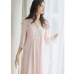 c52d2c1e6f Elegant Night Dress Women Autumn Sleepwear Pink Scallop Edge V Neck Cotton  Sleepdress Vintage Homewear Soft Long Nightgown