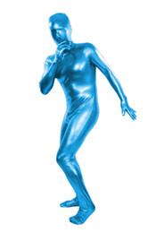 (MZS022) Medias metálicas brillantes azul claro para disfraces de halloween clásicos Trajes originales de fetiche de Zentai unisex desde fabricantes