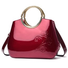 Wholesale Large Flower Paintings - 2018 Western Light rubber paint leather handbags with bright messenger bag shoulder bags for women drop shipping T29