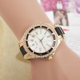 relógio de pulseira chapeada Desconto Explosão das Mulheres de Quartzo Relógio Feminino CZ Diamantes Strass Acrílico Banhado A Ouro Pulseira de Pulso Relógio de Presente Da Jóia
