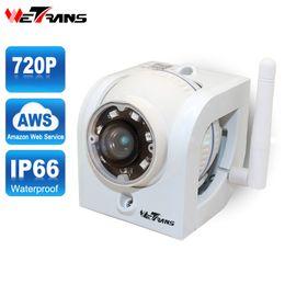 Wholesale Ir Waterproof Wireless Ip Camera - Wetrans Wifi Camera Outdoor 720P HD AWS Cloud Storage P2P 15m IR Night Vision 1.0MP Waterproof Home CCTV Wireless Mini IP Camera