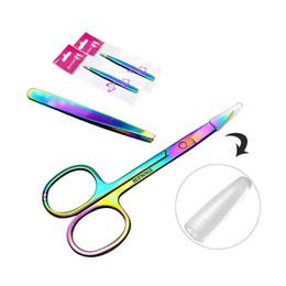 Removedor de sobrancelhas on-line-Profissional Rainbow Color Aço Inoxidável Pinça Sobrancelha Sobrancelha Pinça Mini Tesoura Clipe Anti-estática Face Removedor de Cabelo Ferramenta