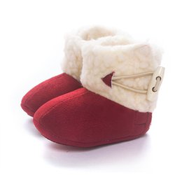 Wholesale Cow Fleece - Toddler Girl Baby Winter Boots Fur First Walkers Warm Snow Comfortable Solid Anti-skid Boots Crib Shoes Fleece Prewalker T0080