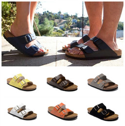 Wholesale green wood floors - New Arizona summer Men Women flats sandals Cork slippers unisex casualshoes print mixed colors flip flop Open-toed sandals Cork slippers