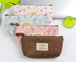 Wholesale flower pencil cases - Flower Floral Pencil Pen Canvas Case Cosmetic Small Makeup Tool Bag Storage Pouch Purse