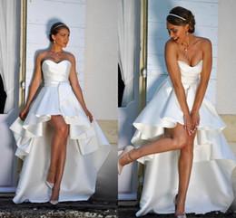 elie saab frühling brautkleid Rabatt 2019 High Low Satin A Line Brautkleider Liebsten Rüschen Reißverschluss Zurück Sommer Brautkleider für Braut