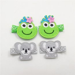 Wholesale Flower Frogs - 10pairs Lot Embroidery Cartoon Frog Princess Hair Clip With Pink Flower Cute Dot Koala Bear Hairpin Coala Barrette Animal Pinch
