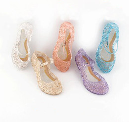 Wholesale Wholesale Crystal Baby Shoes - 2018 summer Girls Sandals Children kids Party Dancing Shoes baby Princess Crystal Shoes Princess High Quality Shoes Cosplay Accessories