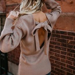 Conceptions de cou de chandails dames en Ligne-Automne Nouveau Design De Mode Bow Backless Femmes Pull Pulls Col Rond Manches Longues Sexy Lady Tricoté Chandail Casual Top 2018 Haute Qualité