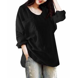 Wholesale Black Linen Blouse - Blusas Top 2018 CELMIA Women's O Neck Long Sleeve Loose Work Blouse Ladies Spring Fashion Solid Baggy Cotton Linen Split Shirt