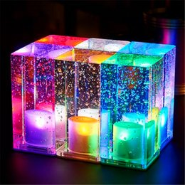 Wholesale Led Candles Sale - Led charging bar lamp Creative restaurant cafe mobile candle waterproof bar table light on sale mini cuboid crystal colorful indoor lighting