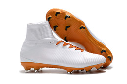 Wholesale Leather Turf Soccer Shoes - Outdoor High Top Socks Football Boots Mercurial Superfly CR7 FG Soccer Shoes New Neymar Men IC TF Indoor Magista Obra ACC Soccer Cleats Turf
