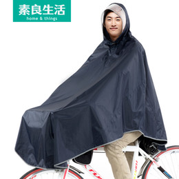 Wholesale adult electric car - In good life of adult male and female single riding bicycle electric vehicle baery car motorcycle raincoat poncho thickened