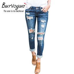 Pantalones de cintura baja de algodón online-Burvogue Moda Pantalones Vaqueros Cortos de Cintura Baja Nuevas Señoras Pantalones de Mezclilla de Algodón Estiramiento Womens Ripped Skinny Jeans Denim Pantalones