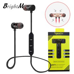 Wholesale Mp3 Run - For Iphone 8 X xiaomi magnetic Bluetooth Sport Earphone Headphones Earphones Wireless Running Headset With Mic MP3 Earbud Stereo BT 4.1