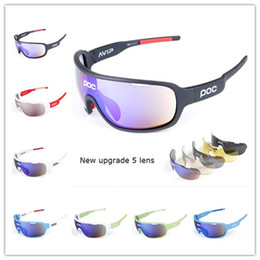 Wholesale Polarized Cycling Sunglasses Lens - 2018 HOT NEW POC Sunglasses Polarized Sports Eyewear UV400 Mens Sun Glasses Womens Wind Proof Goggles Cycling Sunglasses with 5 Lenses
