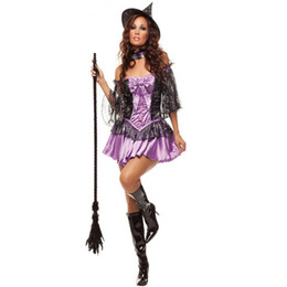 robe de sorcière mauve Promotion Adulte Femmes Halloween Sexy Deluxe Conte De Fées Violet Sorcière Costume Fantasia party Cosplay Déguisement Avec Chapeau