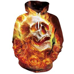 Argentina Cloudstyle 3D Hoodies Hombres Fuego Rose Skull Yellow 3D Print Moda Casual Streetwear Sudaderas con capucha Tops Harajuku Hat Jumpers cheap rose jumpers Suministro