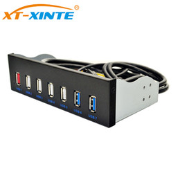 Wholesale fast optical - 5.25 inch 19pin to 2Ports USB3.0 4Ports USB2.0 Optical Drive Front Panel USB Hub Fast Changer BC1.2 Connector for PC Desktop