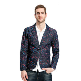 Wholesale colorful blazers - MarKyi fashion 2017 colorful stripted men blazers and jackets good quality single button men blazers suit casual Eu size 2xl